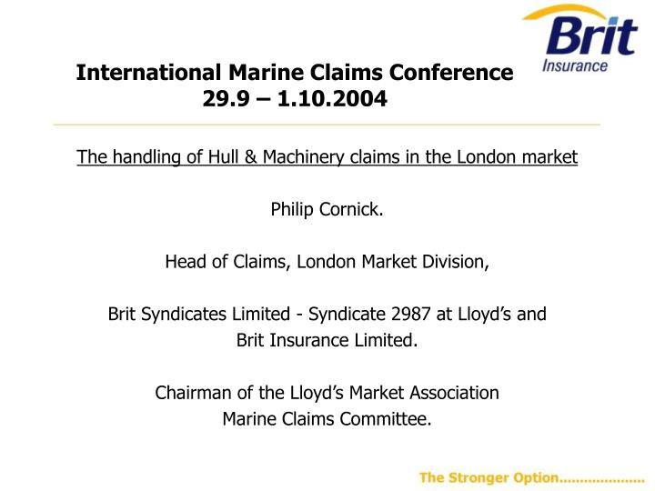International marine claims conference 29 9 1 10 2004