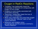 oxygen in redox reactions