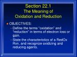 section 22 1 the meaning of oxidation and reduction