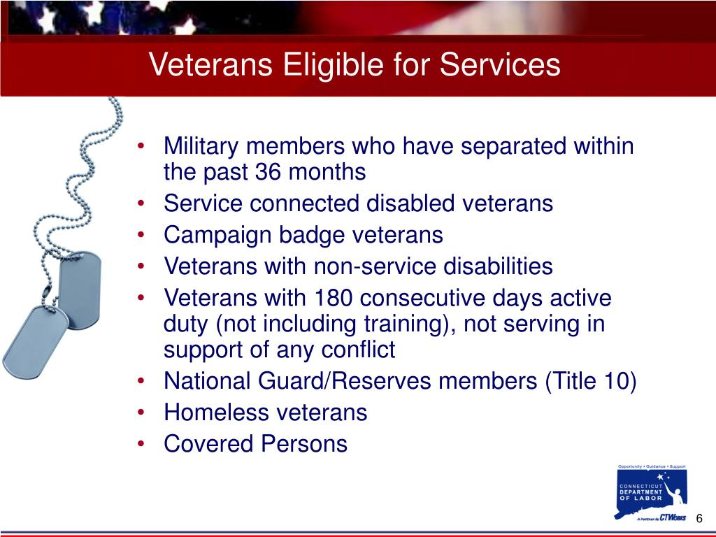 Veterans Eligible for Services
