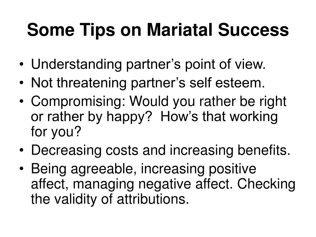 Some Tips on Mariatal Success