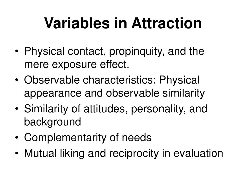 Variables in Attraction