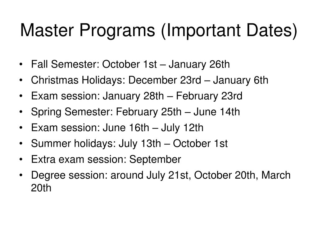 Master Programs (Important Dates)