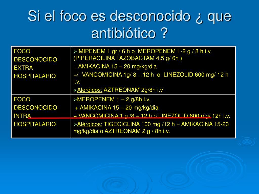Si el foco es desconocido ¿ que antibiótico ?