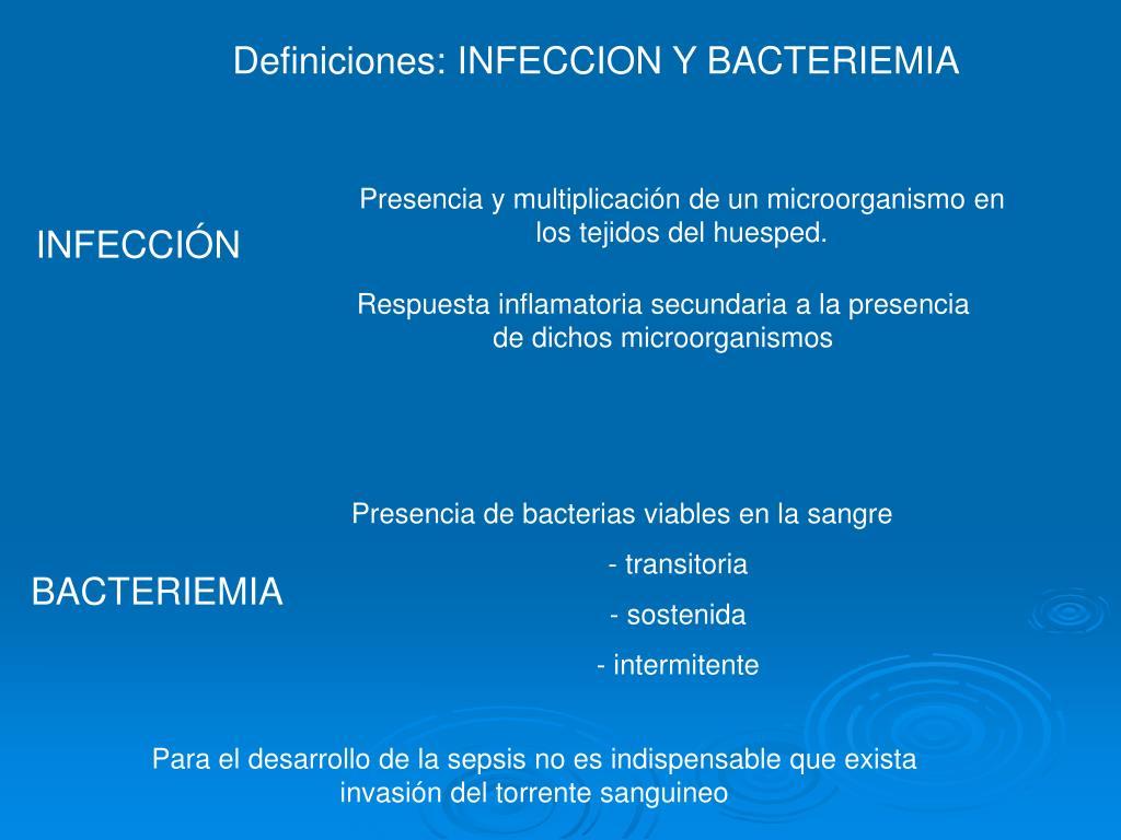 Presencia y multiplicación de un microorganismo en los tejidos del huesped.