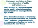 statement by california state superintendent of public instruction