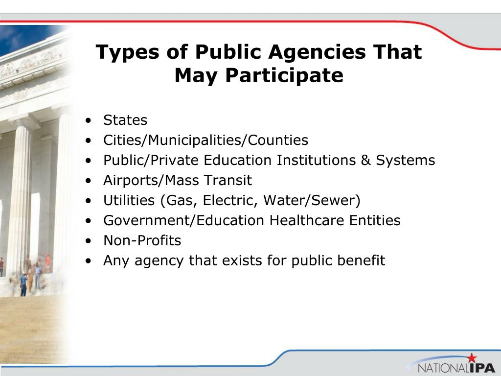 Types of Public Agencies That May Participate