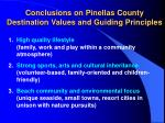 conclusions on pinellas county destination values and guiding principles