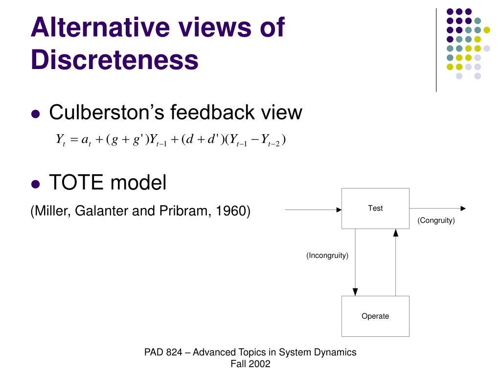 Alternative views of Discreteness