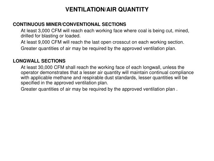 VENTILATION/AIR QUANTITY