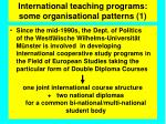 international teaching programs some organisational patterns 1