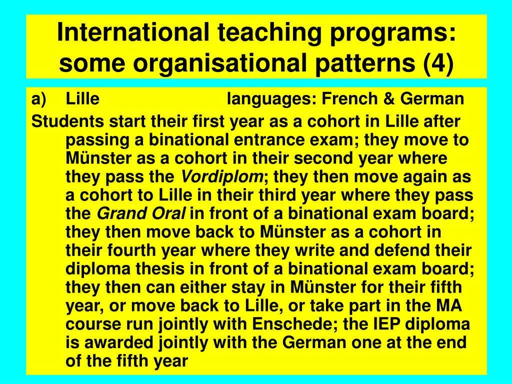 International teaching programs: some organisational patterns (4)