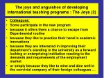 the joys and anguishes of developing international teaching programs the joys 2