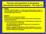 the joys and anguishes of developing international teaching programs the joys 3
