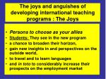 the joys and anguishes of developing international teaching programs the joys