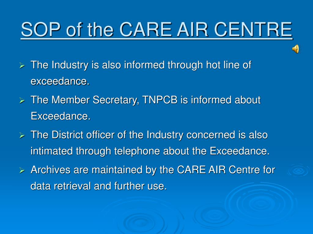 SOP of the CARE AIR CENTRE