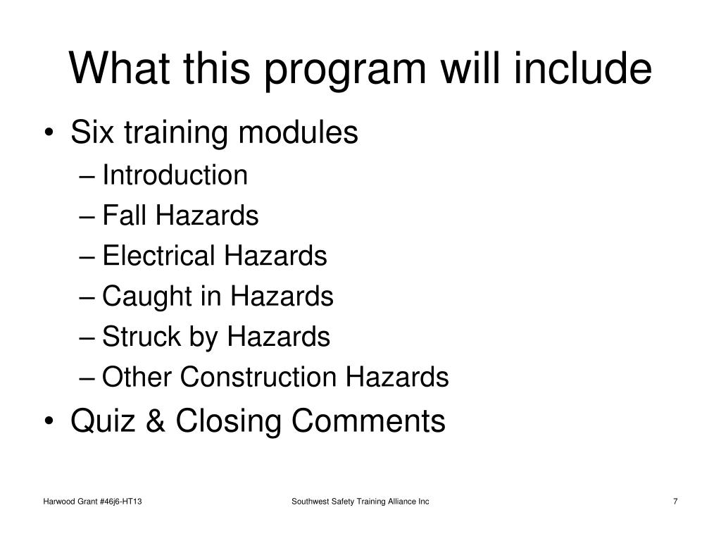 What this program will include