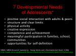 7 developmental needs of adolescents