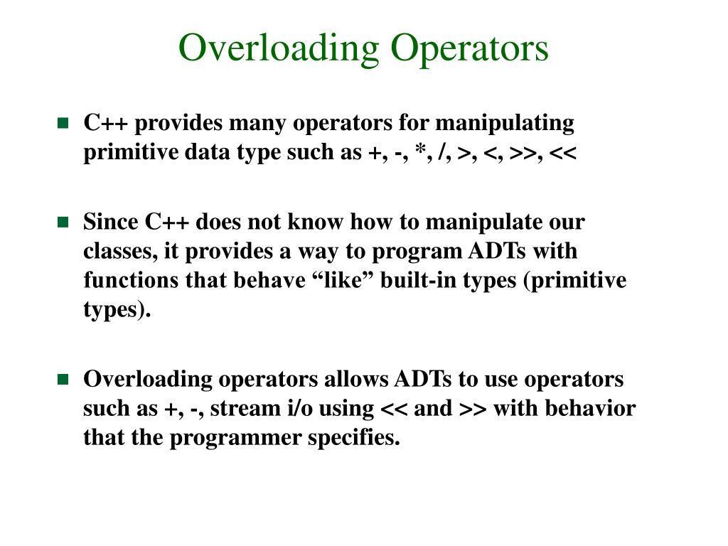 Overloading Operators