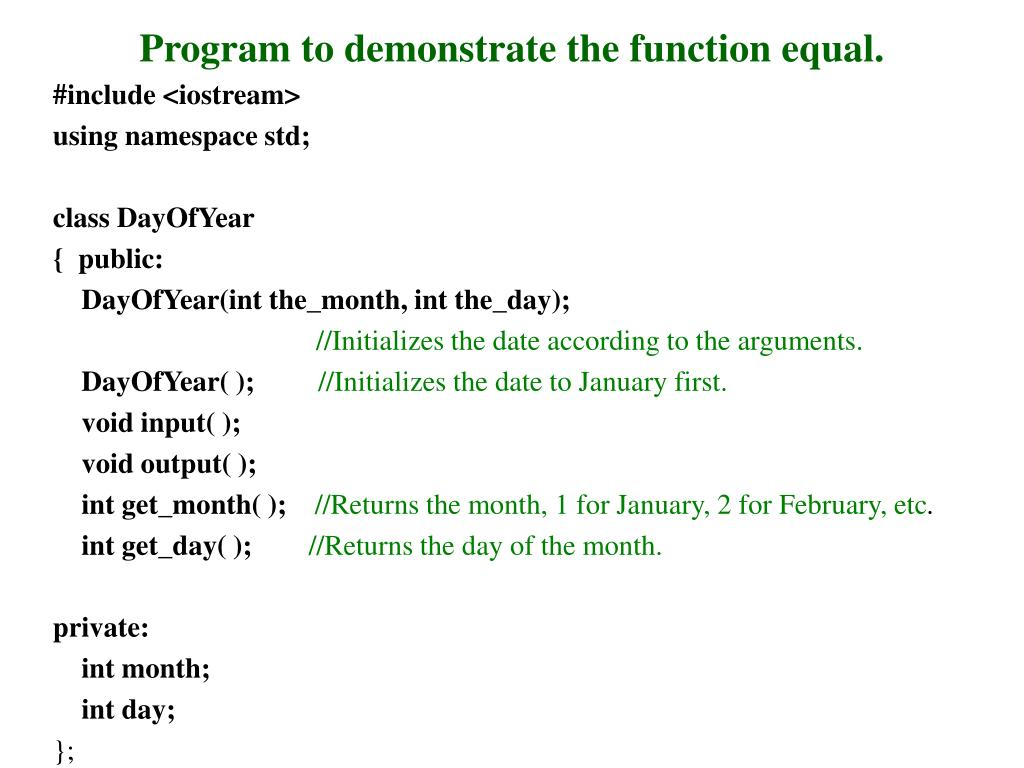 Program to demonstrate the function equal.
