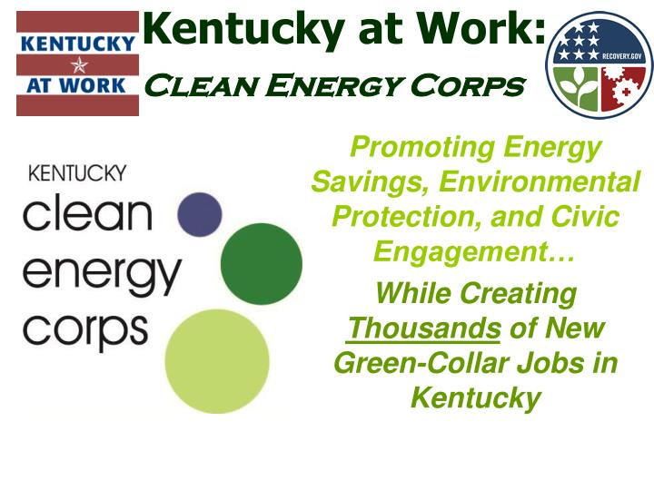 Kentucky at work clean energy corps