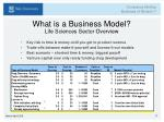 what is a business model life sciences sector overview