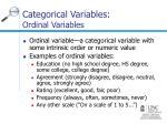 categorical variables ordinal variables