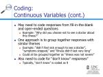 coding continuous variables cont