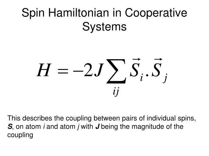 Spin Hamiltonian in Cooperative Systems