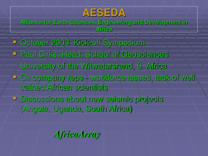 Aeseda alliance for earth sciences engineering and development in africa