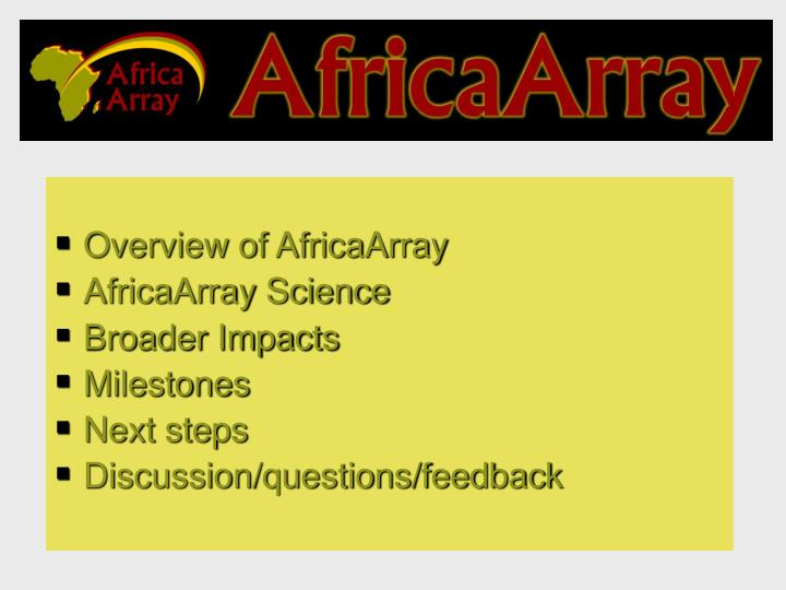 Overview of AfricaArray