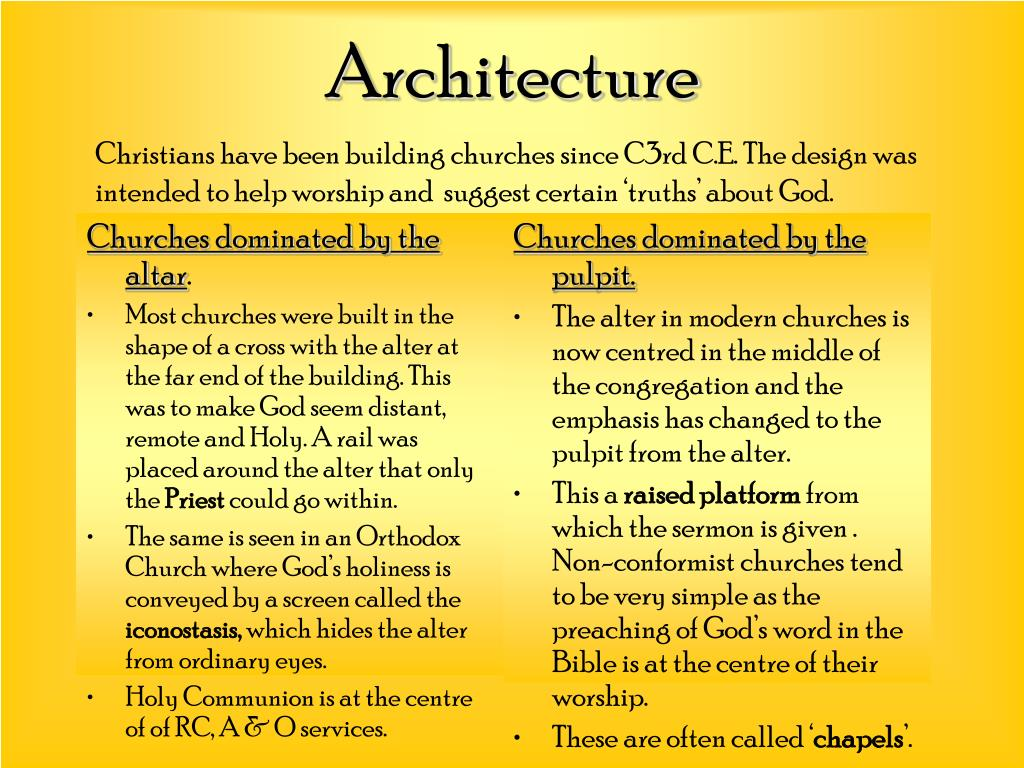 Churches dominated by the altar