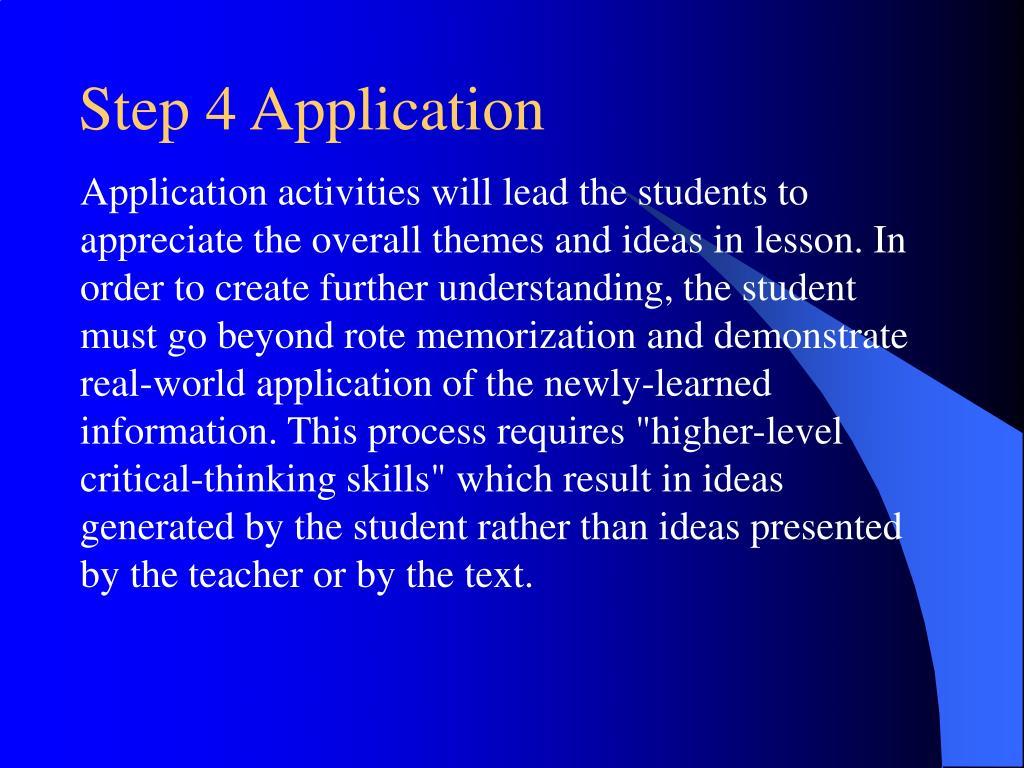 Step 4 Application