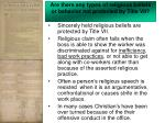 are there any types of religious beliefs or behavior not protected by title vii