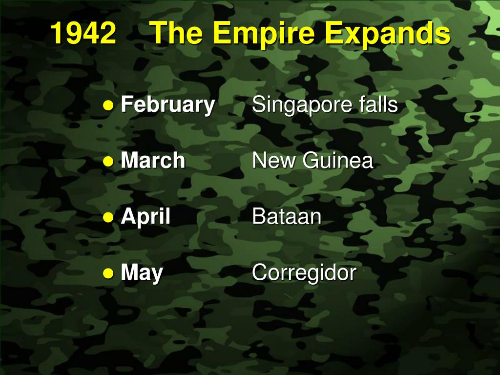 1942	The Empire Expands