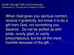 health through faith and community overhead 4 3 excerpt from imitation of christ