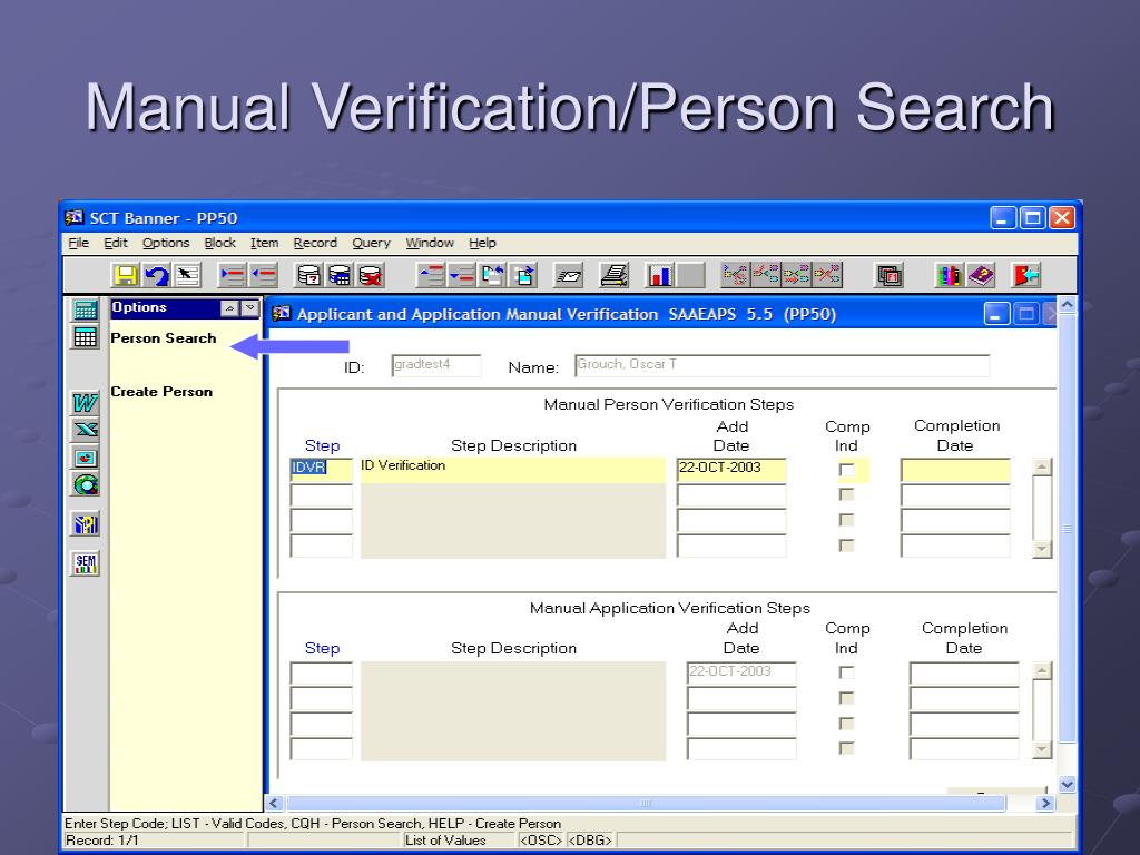 Manual Verification/Person Search