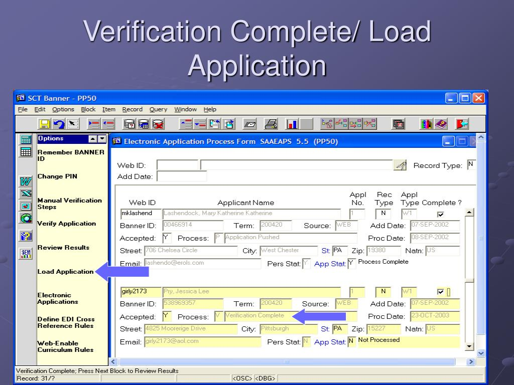 Verification Complete/ Load Application