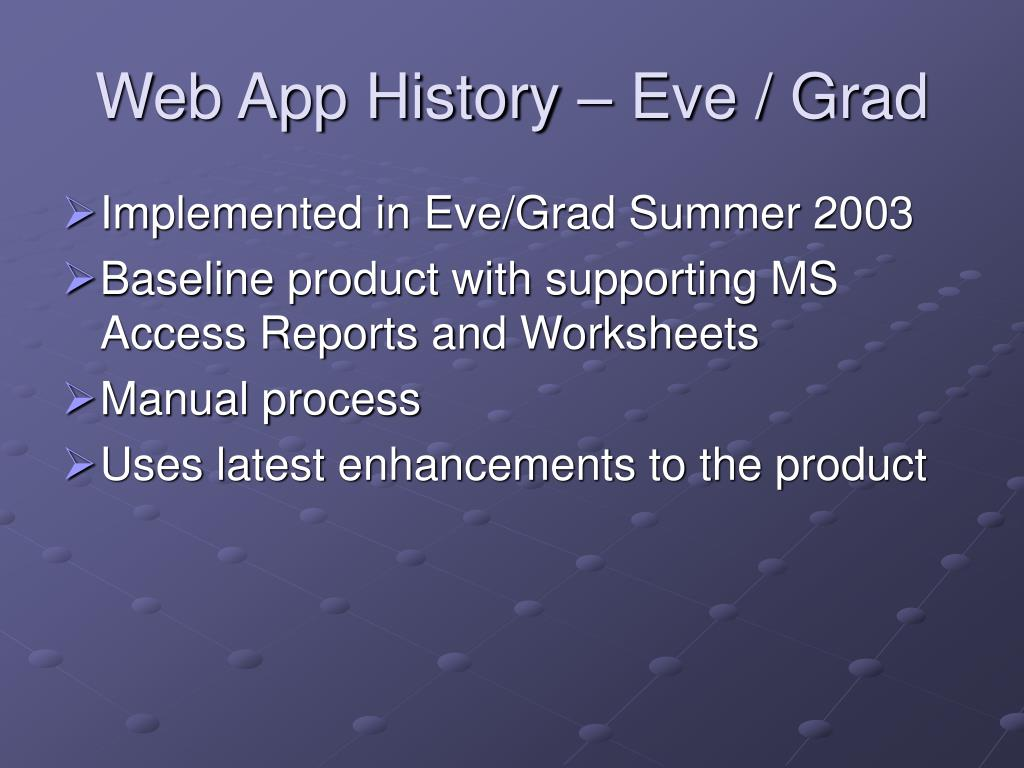 Web App History – Eve / Grad