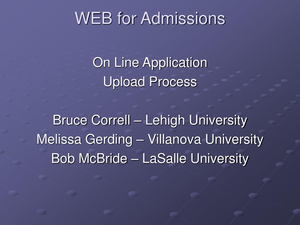 WEB for Admissions