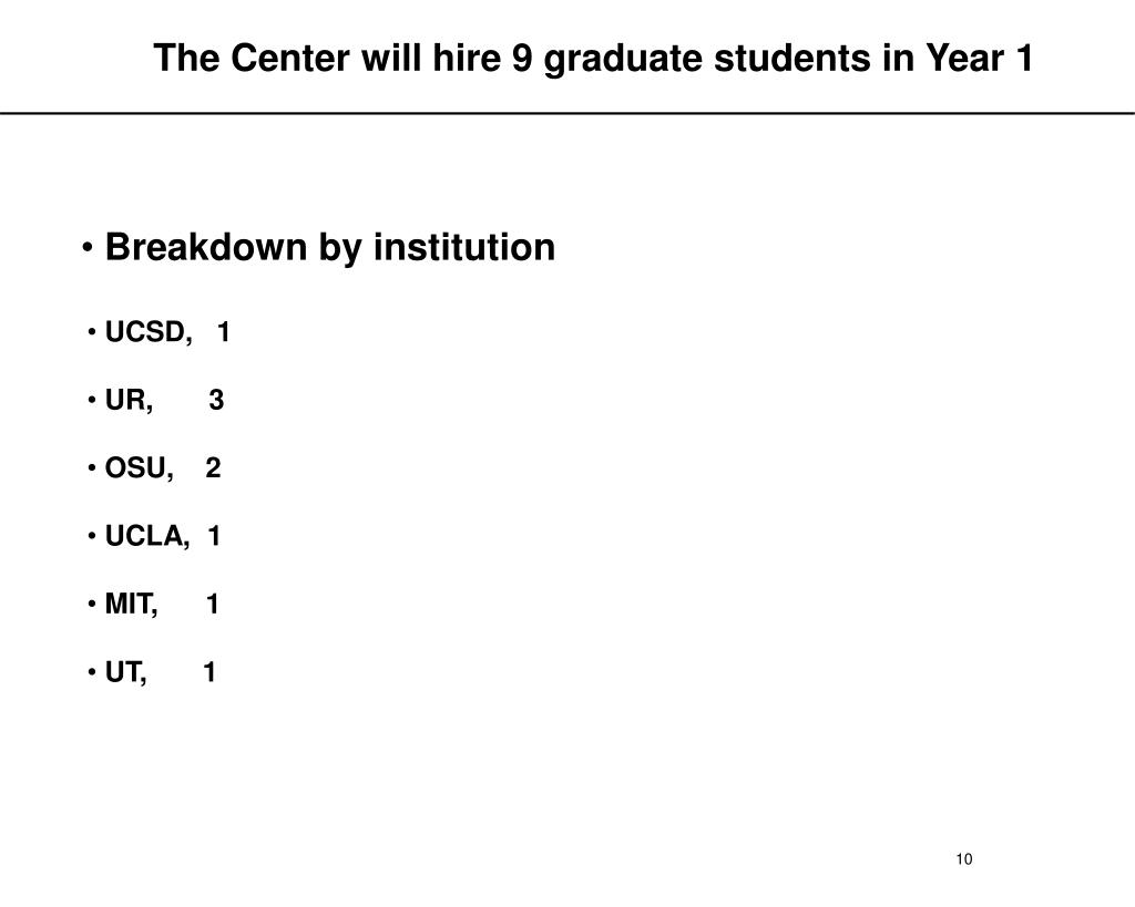 The Center will hire 9 graduate students in Year 1