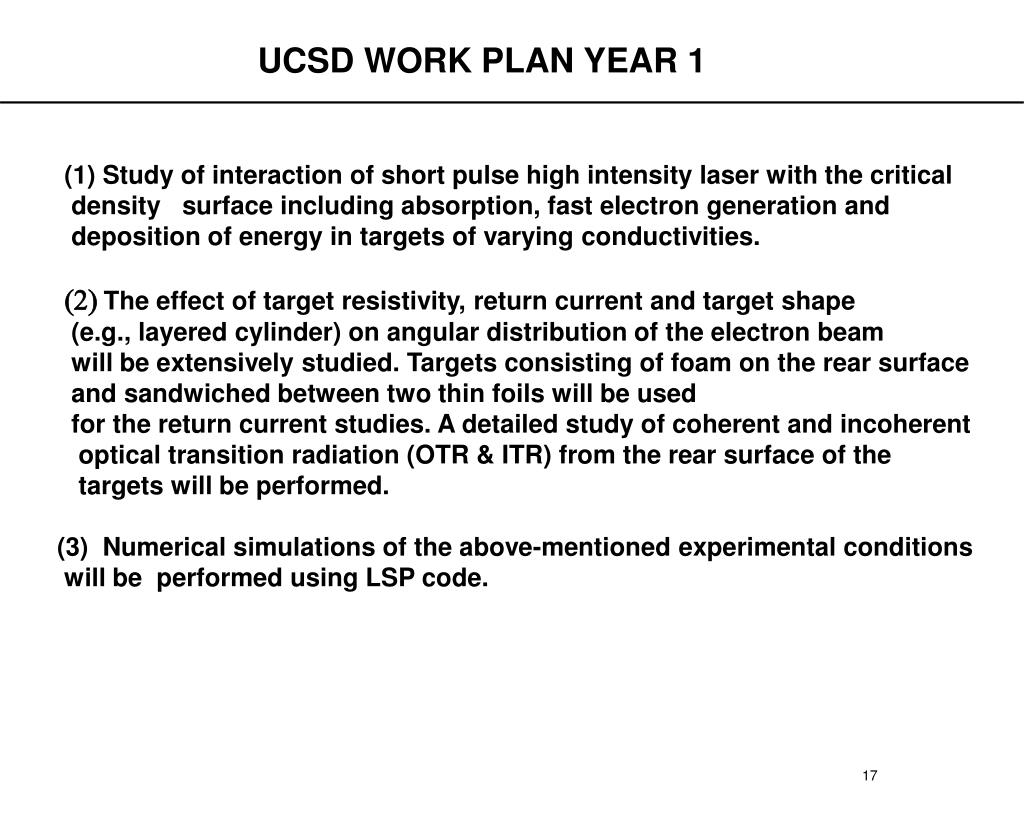 UCSD WORK PLAN YEAR 1