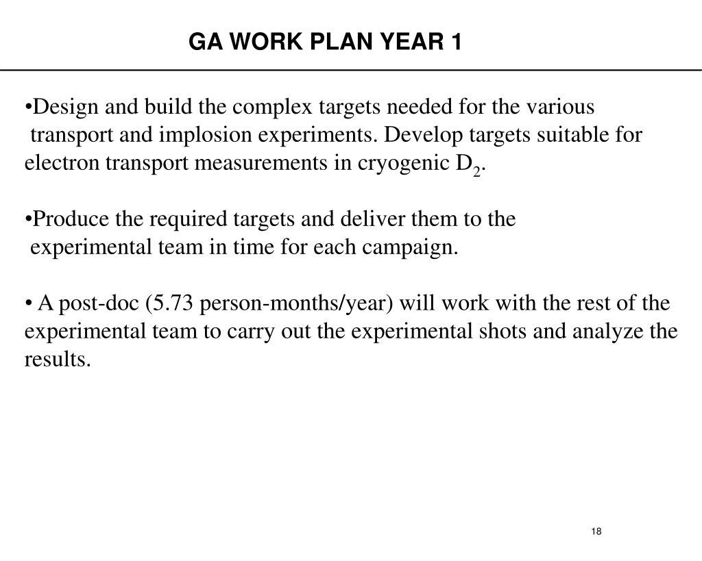 GA WORK PLAN YEAR 1