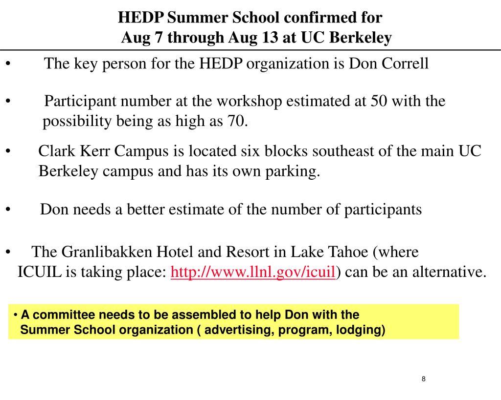 HEDP Summer School confirmed for