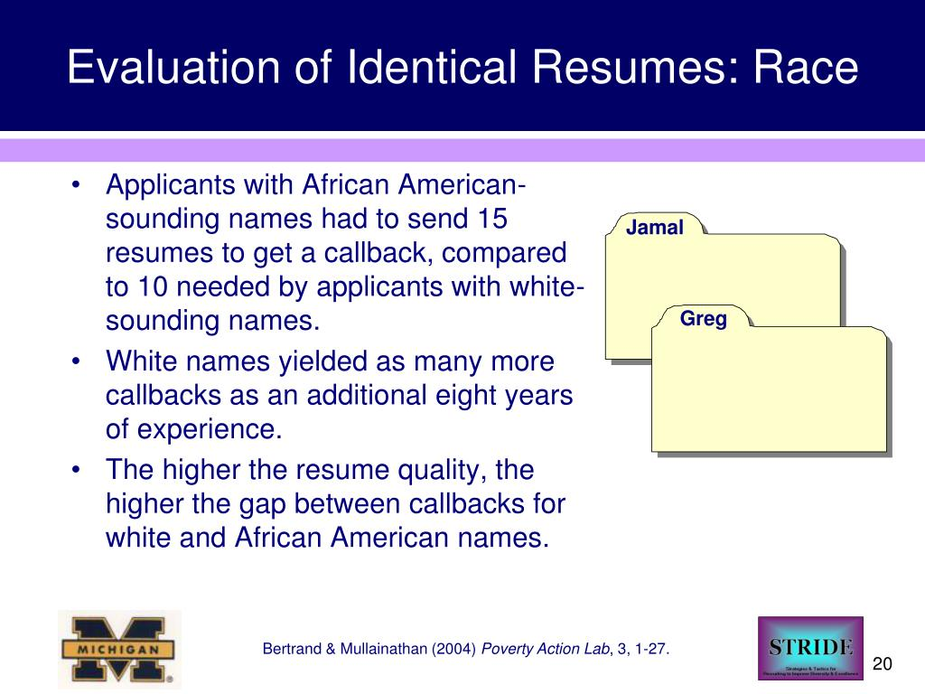 Evaluation of Identical Resumes: Race