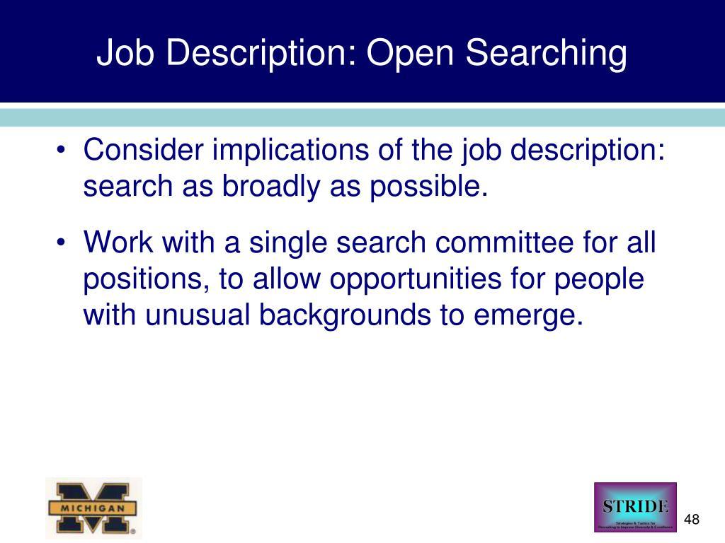 Job Description: Open Searching