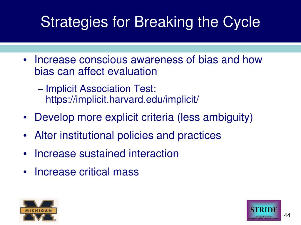 Strategies for Breaking the Cycle