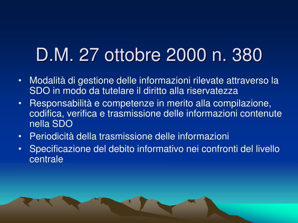 D.M. 27 ottobre 2000 n. 380