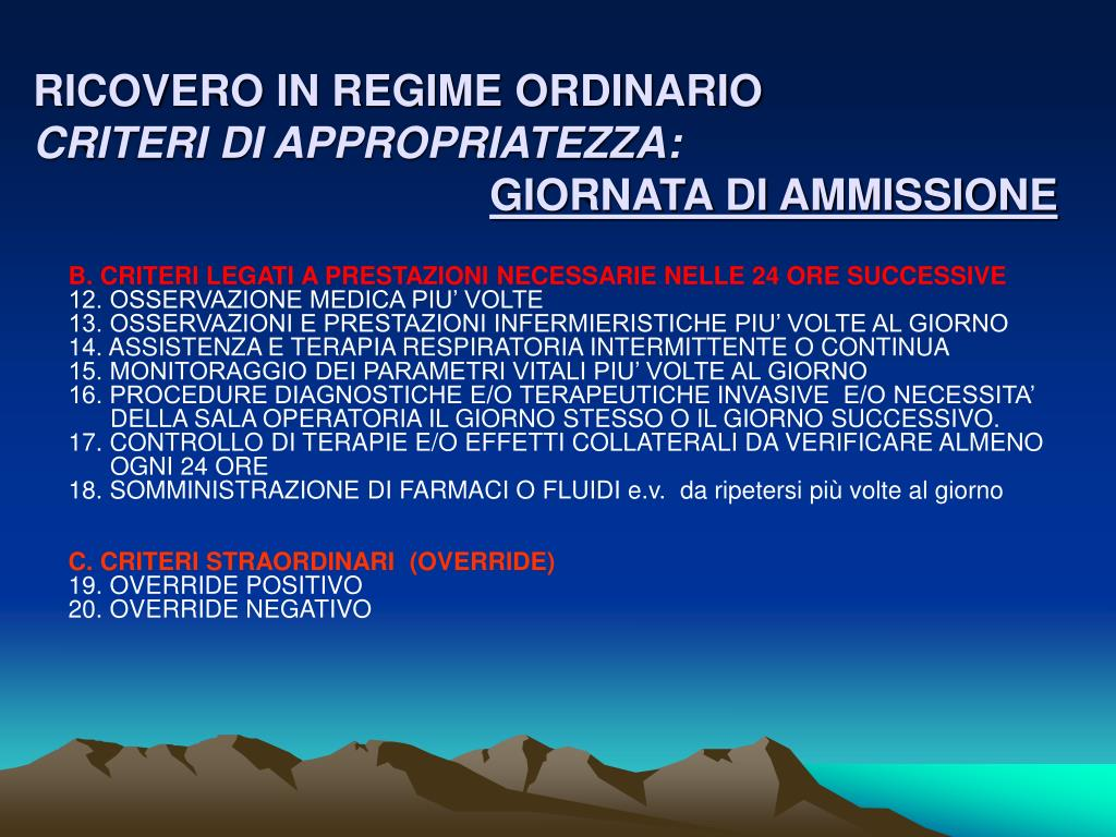 RICOVERO IN REGIME ORDINARIO