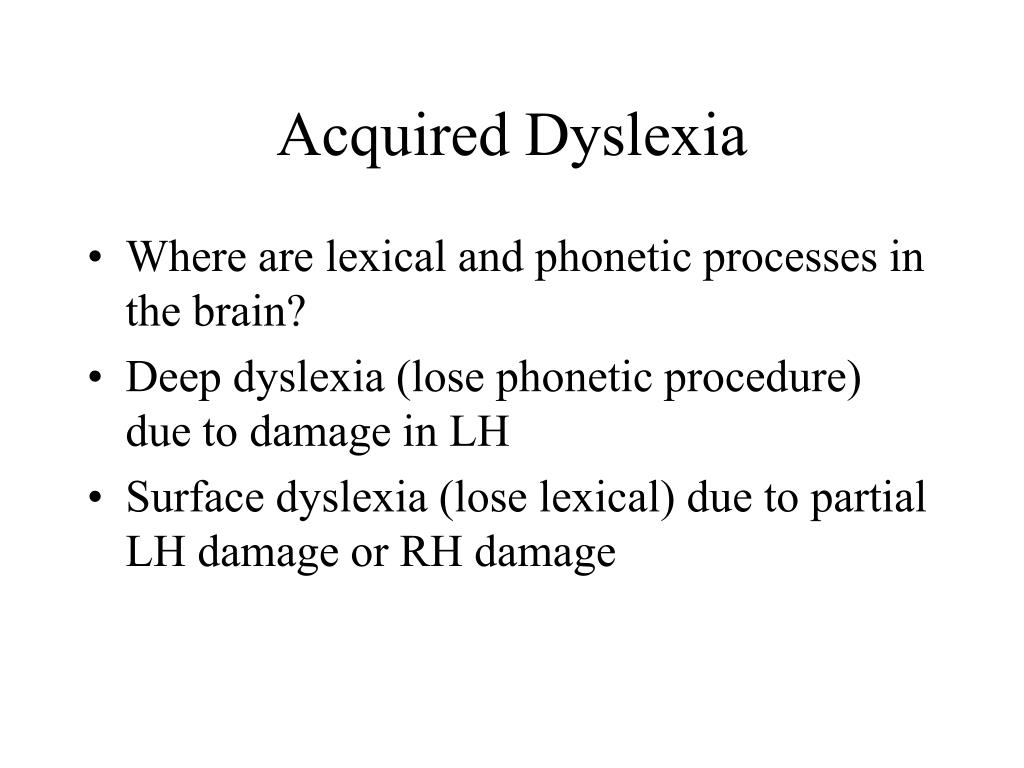 Acquired Dyslexia